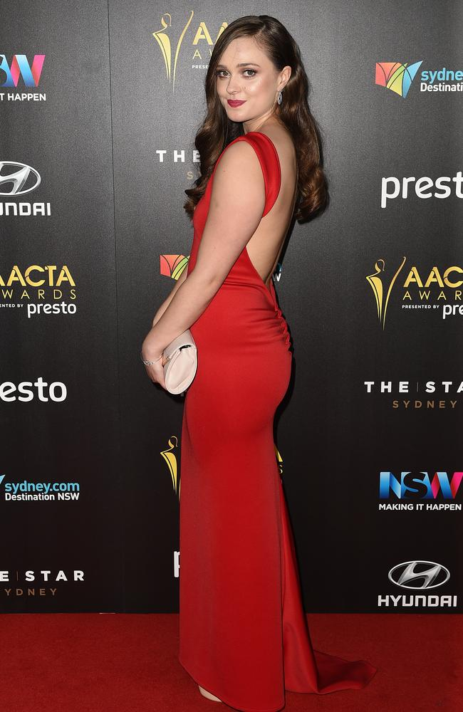Yasmin Horner arrives ahead of the 5th AACTA Awards Presented by Presto at The Star on December 9, 2015 in Sydney, Australia. Picture: AAP