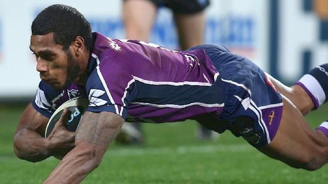 Sisa Waqa scores for the Storm. Picture: Mark Dadswell
