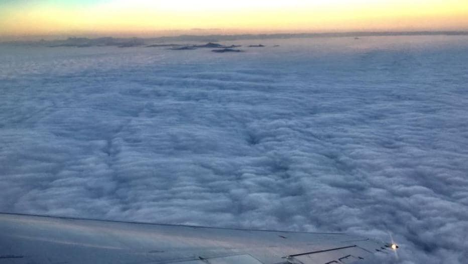 Brisbane is blanketed by a sea of fog. Picture: Tony Auden/Channel 7