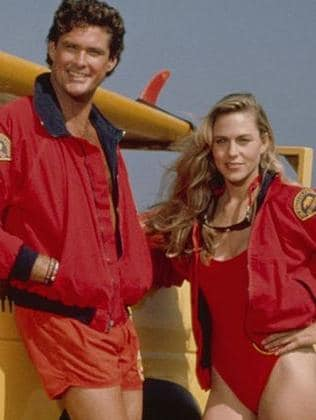 Shawn Weatherly as Jill Riley opposite David Hasselhoff in Baywatch Season 1. Picture: Supplied