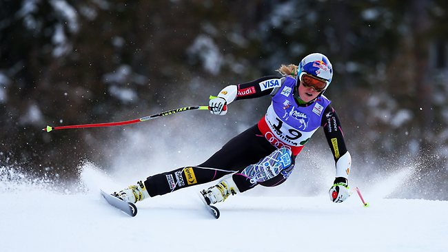 CRASHED: World Cup champion Skier Lindsey Vonn was injured in a crash during the women's Super-G alpine skiing world championshipsin Schladming, Austria. Picture: Christophe Pallot
