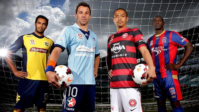 A-League star imports Marcos Flores (Mariners) , Alessandro Del Piero (Sydney) , Shinji Ono (Wanderers ) and Emile Heskey (Newcastle) at the official launch of the new A-League season at Allianz Stadium, Sydney.