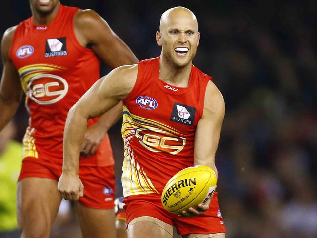 Gold Coast's Gary Ablett will often use his pace to break away from stoppages.