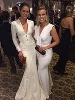 "Model Jesinta Campbell poses up to Sunrise weather woman Edwina Bartholomew, ""LOVE this girl!! Great to see you @edwina_b xxx"" Picture: Twitter"