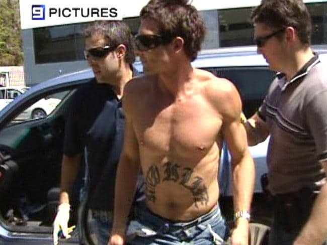 Ben Cousins is arrested in Northbridge in 2007. Picture: Nine News