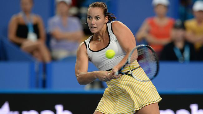 Jarmila Wolfe in Hopman Cup action for Australia.