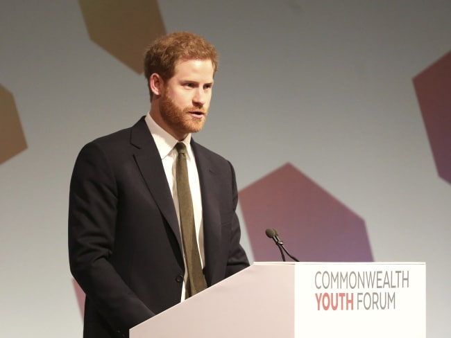 Prince Harry delivers a speech at the Commonwealth Youth Forum in London. Photo: Simon Dawson / AP