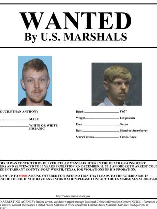 This wanted poster was distributed when Couch fled the country while serving probation for killing four people in a 2013 drunk-driving crash. Picture: U.S. Marshals Service