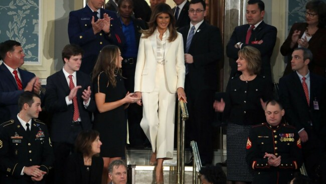 Melania is here. Photo: AP