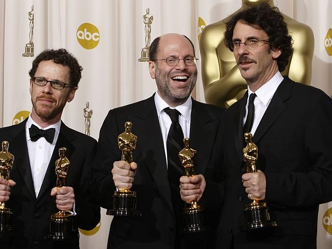 Scott Rudin with the Coen brothers backstage after  <i>No Country For Old Men</i> won the Best Picture Oscar.