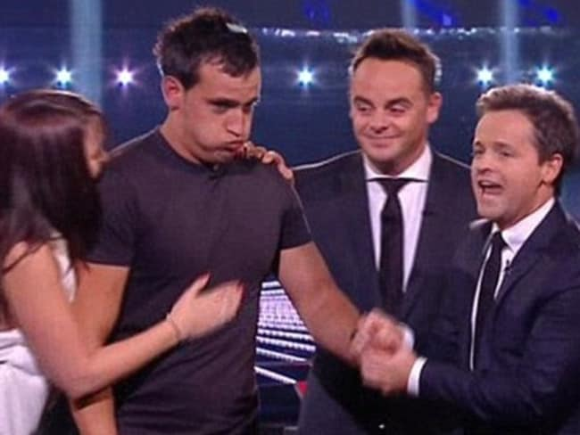 Nathan Hageman (second from left) with former fiancee Jane Makepeace and  <i>Red or Black </i>hosts Ant and Dec after his 2011 win.