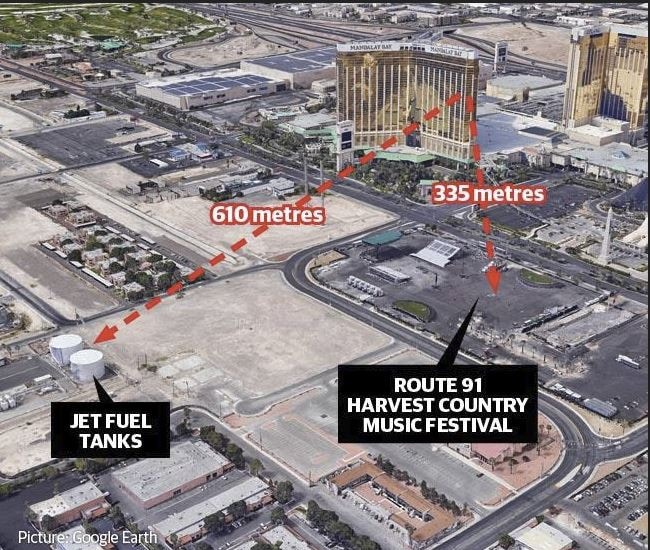 The target of Stephen Paddock in Las Vegas, aviation tanks near the Route 91 Harvest music festival. Picture: Supplied