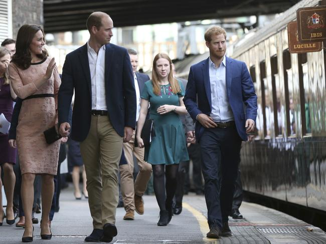 Kate, William and Harry met with the cast and crew from the upcoming film Paddington 2. Picture: Jonathan Brady/Pool via AP