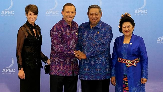 PM Tony Abbott and his wife Margie are welcomed by President Susilo Bambang Yudhyono and Ibu Ani Yudhoyono as they arrive for the APEC Gala Dinner in Bali in October. Picture: Ray Strange