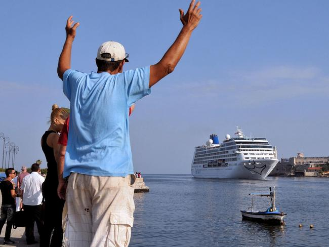 The first US-to-Cuba cruise ship to arrive in the island nation in decades glides into the port of Havana. Picture: AFP