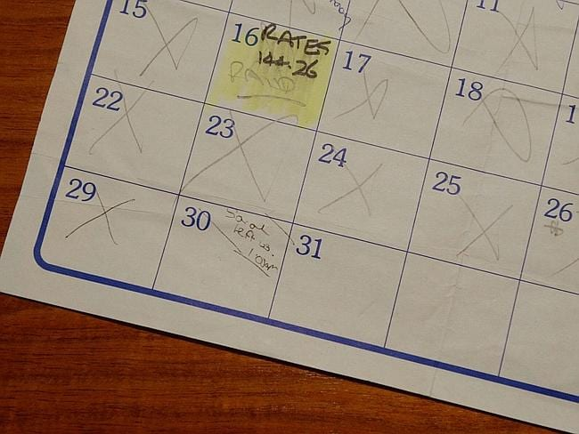 A 1993 calendar belonging to Kathleen Folbigg which made up part of the evidence that led to her conviction. On the entry for...