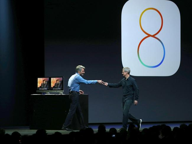 It's eight, and it looks great ... Apple Senior Vice President of Software Engineering Craig Federighi and Apple CEO Tim Cook during the Apple Worldwide Developers Conference.