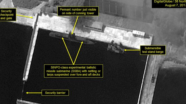 Satellite images of the SINPO South Shipyard in North Korea reportedly show changes on the ship pictured. Picture: DigitalGlobe/38 North via Getty Images