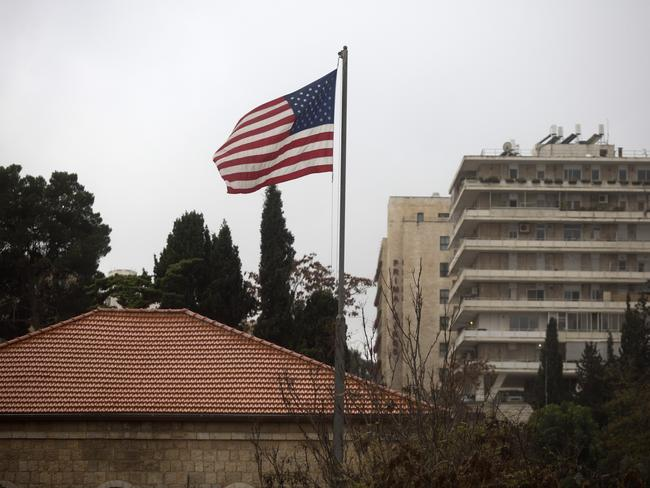 An American flag flies over the US Consulate in Jerusalem a day before Mr Trump made his controversial announcement. Picture: Lior Mizrahi/Getty Images