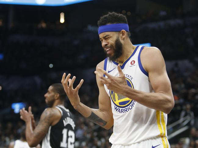 JaVale McGee reacts after being called for a foul.