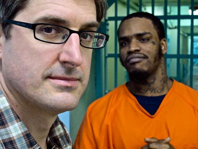 Louis Theroux asks tough guys tough questions. Picture: Supplied.