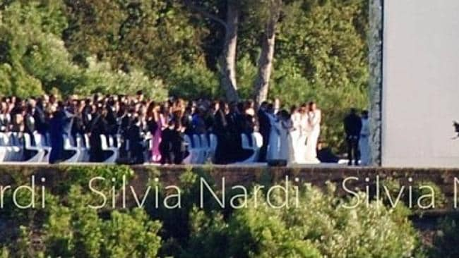 SILVIA NARDI posted the above photo to her Instagram page with the caption: Kim and Kanye at the altar during the wedding and Kendall, Kylie, Khloé, Kourtney and Kris in the front row wearing a white dress (My Own Pic!). Picture: 16SILV/INSTAGRAM