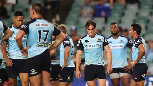 A dejected Michael Hooper after the Waratahs loss at Allianz Stadium, Sydney. Picture: Brett Costello.