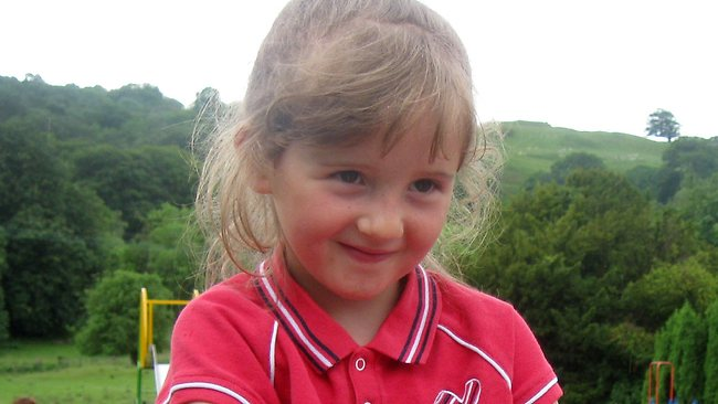 This undated photo released by Welsh Dyfed-Powys Police, showing missing five-year old schoolgirl April Jones. 46-year old Mark Bridger, has been charged with the abduction and murder of April Jones, along with perverting the course of justice, according to an announcement by Dyfed-Powys Police in Aberystwyth, Wales, on Saturday Oct. 6, 2012. The disappearance of April Jones sparked a huge search effort with hundreds of local volunteers combing nearby woods and fields, but she remains missing. (AP Photo/Dyfed-Powys Police)