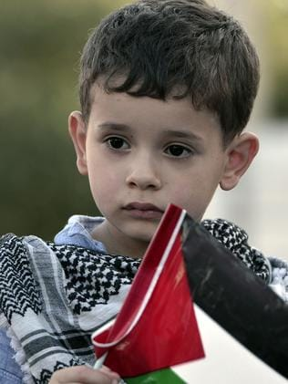 Indoctrination ... a boy holds a Palestinian flag during demonstrations against Israeli air strikes on the Gaza strip.