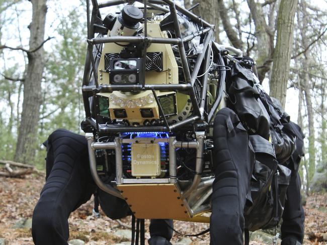 Spot, the hydraulic-articulated four-legged robot developed by Boston Dynamics and the Defense Advanced Research Projects Agency (DARPA).
