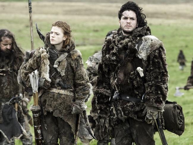 On again ... Game of Thrones co-stars Rose Leslie (Ygritte) and Kit Harington (Jon Snow) also had a love connection on the hit show. Picture: Supplied