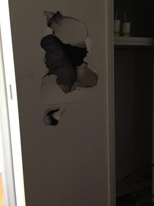 The owner burst into tears when she first saw the damage which included multiple holes in the walls throughout the home.