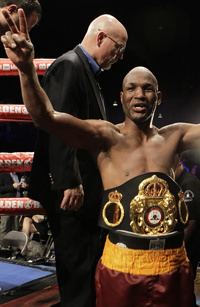 America's Bernard Hopkins leaves the ring after defeating Kazakhstan's Beibut Shumenov in