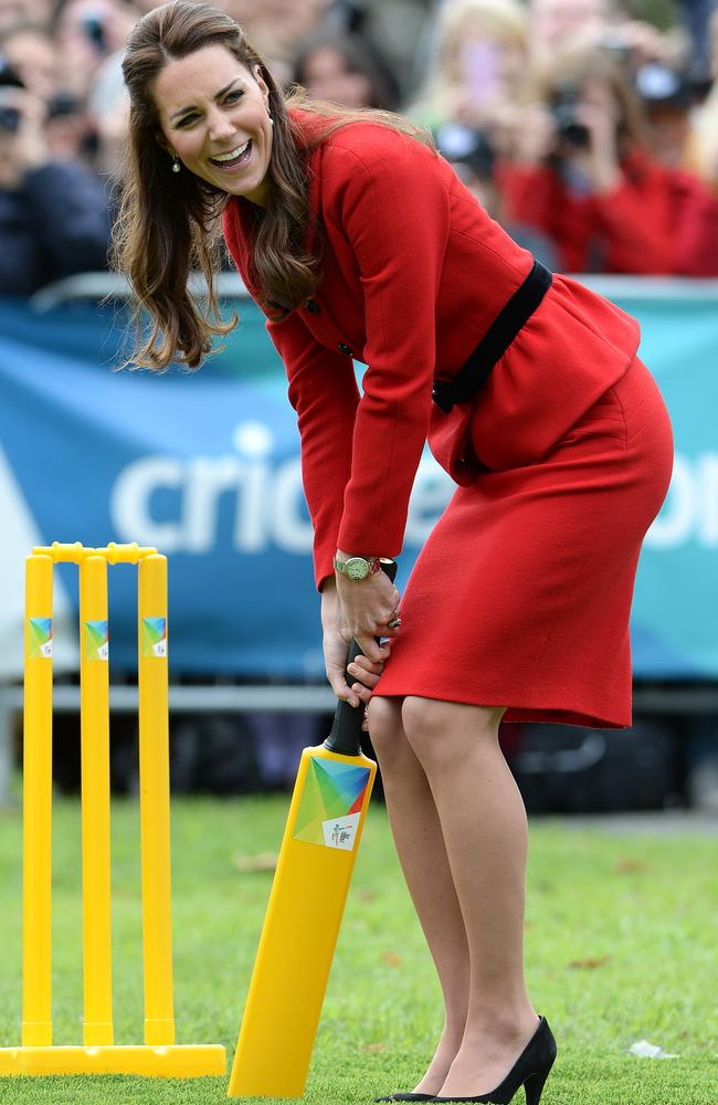 Kate Middleton loves bright colours ... and isn't afraid of playing cricket either. Picture: Splash