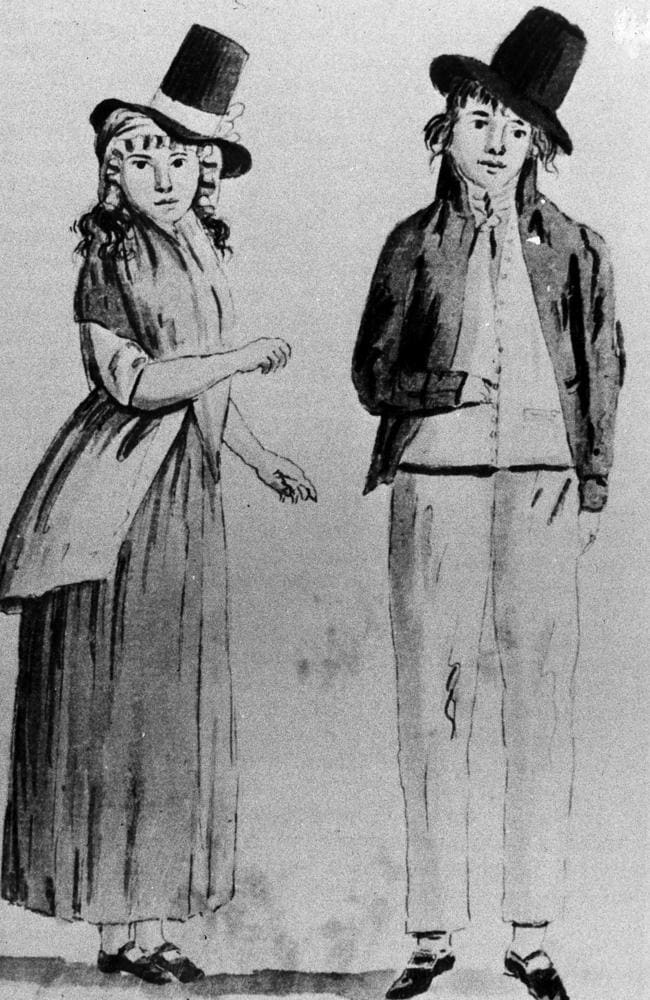 Two convicts in Sydney in 1793, drawn by Juan Ravenet.