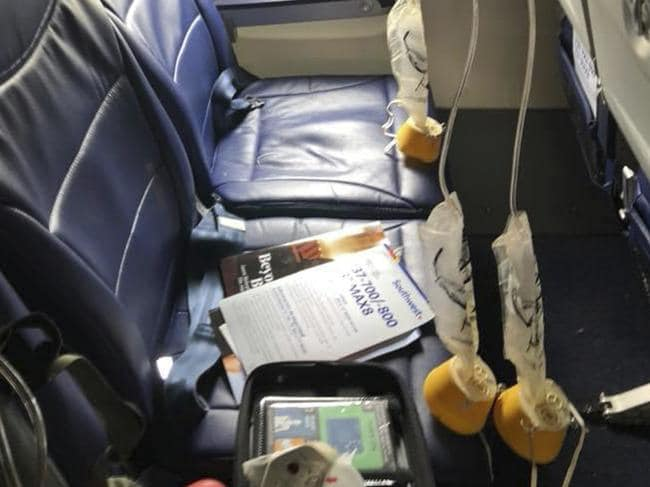 When the cabin pressure changes you have about 30 seconds to put your mask on before you pass out. Picture: Marty Martinez/AP