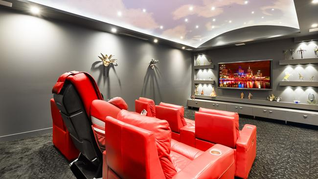Inside the property's private cinema.
