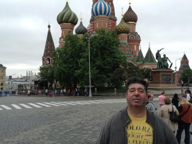 Rob Goldstone in front of the Kremlin in Russia. Picture: Facebook