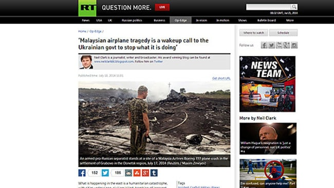 Blame game ... an article on the RT website published on Friday points the finger at Ukraine.