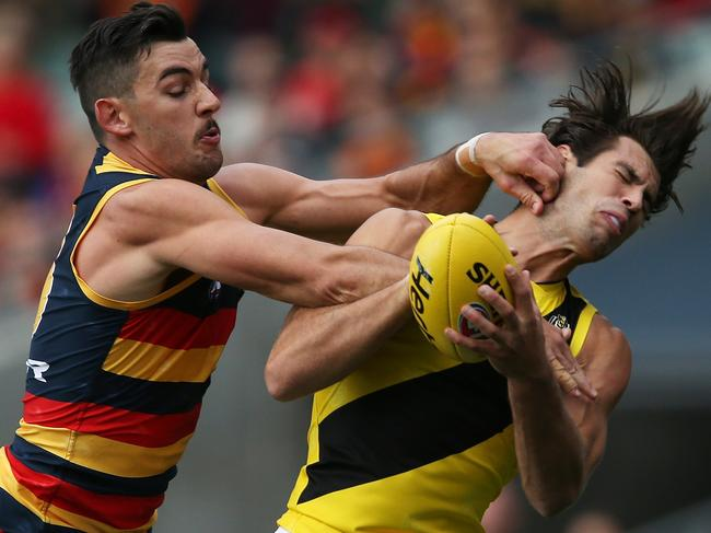 ADELAIDE, AUSTRALIA - APRIL 30: Taylor Walker of the Crows clashes with Alex Rance of the Tigers during the 2017 AFL round 06 match between the Adelaide Crows and the Richmond Tigers at Adelaide Oval on April 30, 2017 in Adelaide, Australia. (Photo by James Elsby/AFL Media/Getty Images)