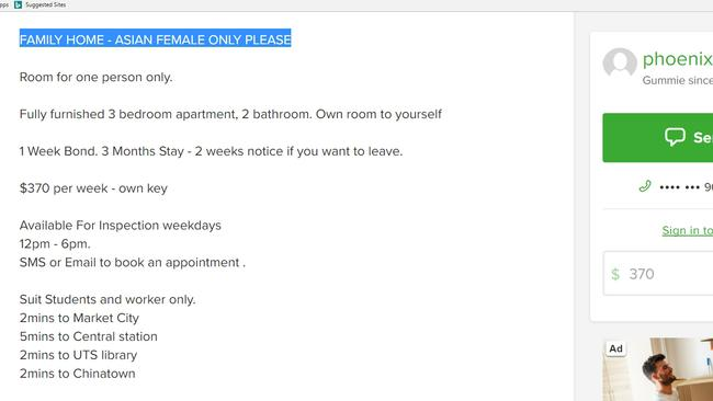 This listing advises only Asian females will be considered.