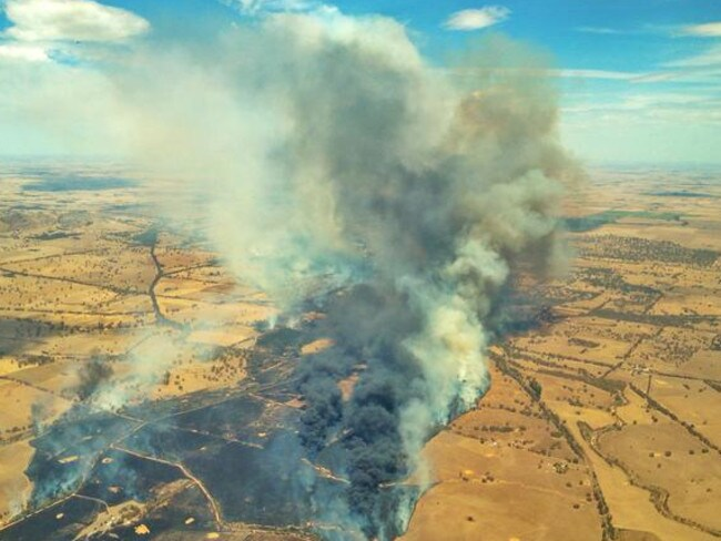 On fire .. the bushfires at Moyston. Picture: Channel 7