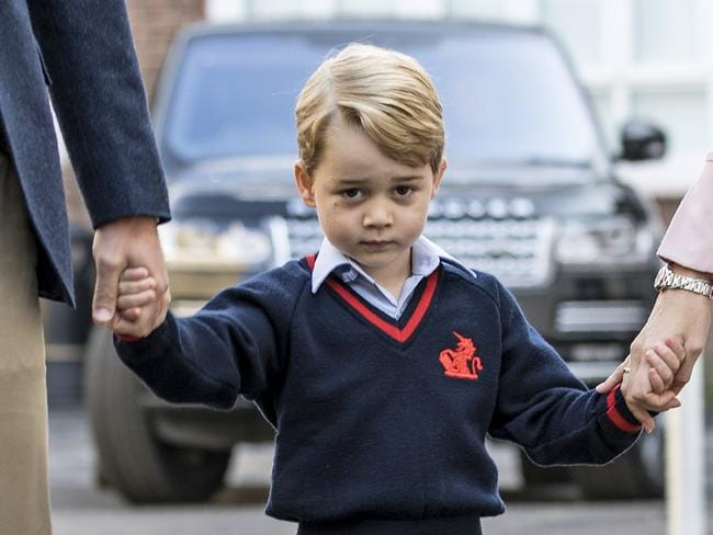 Prince George appeared slightly more uncertain when he arrived for his first day of school in 2017. Picture: AFP/Richard Pohle