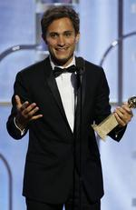 "BEVERLY HILLS, CA - JANUARY 10: In this handout photo provided by NBCUniversal, Gael Garcia Bernal accepts the award for Best Actor - TV Series, Comedy for ""Mozart in the Jungle"" during the 73rd Annual Golden Globe Awards at The Beverly Hilton Hotel on January 10, 2016 in Beverly Hills, California. (Photo by Paul Drinkwater/NBCUniversal via Getty Images)"