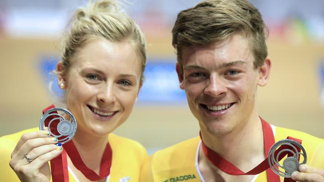 Australia's brother and sister Alex and Annette Edmondson after winning the silver medals in the men's 4000m individual pursuit and the women's 3000m individual pursuit, respectively.