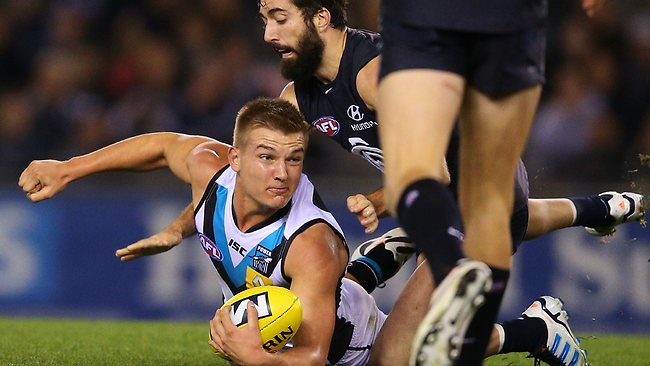Port Adelaide midfielder Oliver Wines in action against Carlton. Picture: Getty