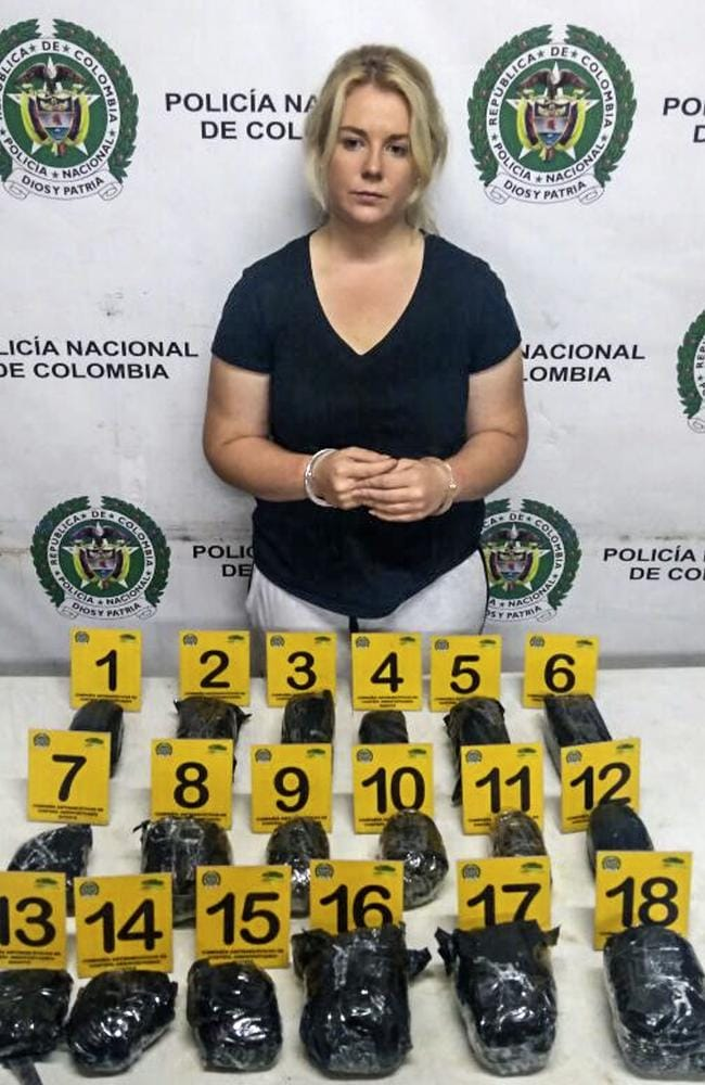 South Australian Cassie Sainsbury was arrested at Bogota airport with almost six kilograms of cocaine she says she thought was headphones. Picture: AFP
