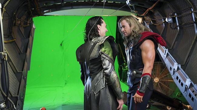 Tom Hiddleston and Chris Hemsworth filming in front of a green screen. Picture: Marvel