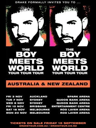 The poster for Drake's Australian tour. Supplied by Frontier