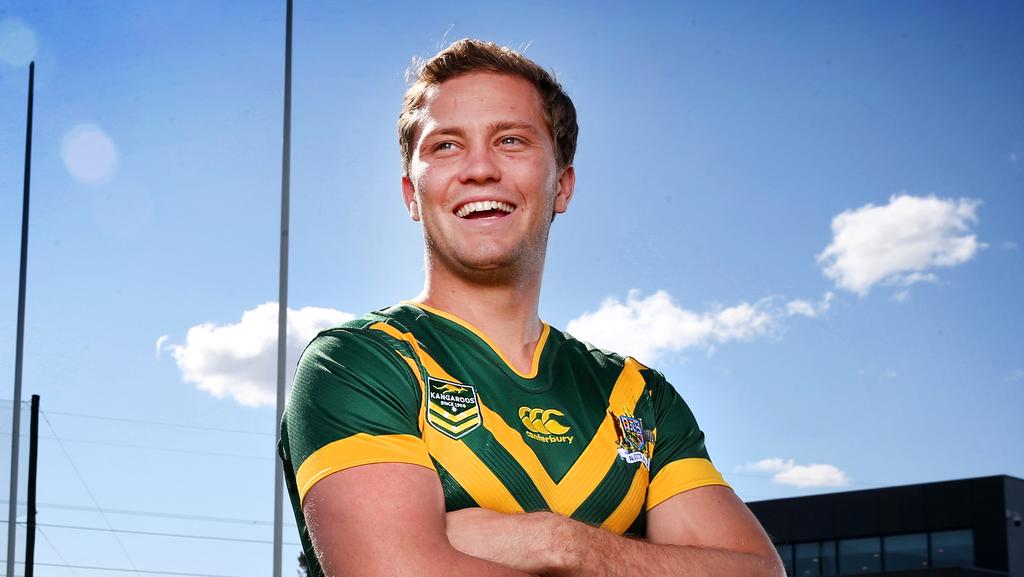 Pictured at Penrith Panthers Academy in Penrith is Matt Moylan wearing his Kangaroos jumper after being